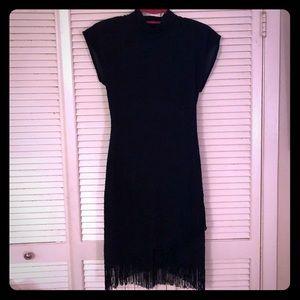 {Vintage}Art Deco crepe shortsleeve dress w/fringe